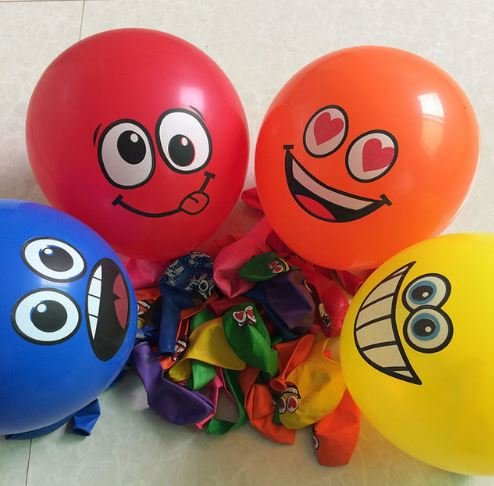 [20pcs/lot Printed Big Eyes Smiley Air Balloon Happy Birthday Party Decoration Ballons Inflatable Latex Balls Kid Toys by] (Smiley Movie Mask)