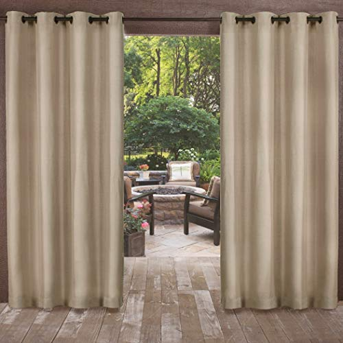 - UK4 2 Piece 84 Inch Natural Indoor Outdoor Two Tone Textured Gazebo Curtain, Light Brown Window Treatment Panel Pair, Patio Porch Cabana Dock Grommet Top Pergola Drapes, Casual Contemporary Polyester