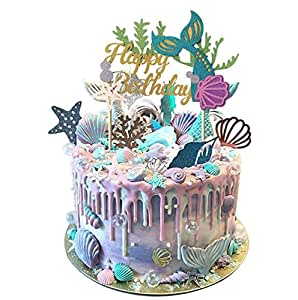 Amazon Mermaid Theme Glitter Happy Birthday Cake Topper For