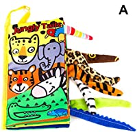 BLXCBLSY Soft Baby Cloth Books Cartoon Animal Touches and Feel Crinkle Tail Books for Babies Infants Toddler Early…