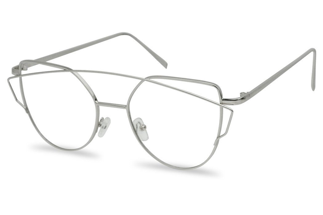 Women's Sexy Extra High Pointed Cat Eye Flat Clear Lens Glasses Round (Silver, Clear) by SunglassUP