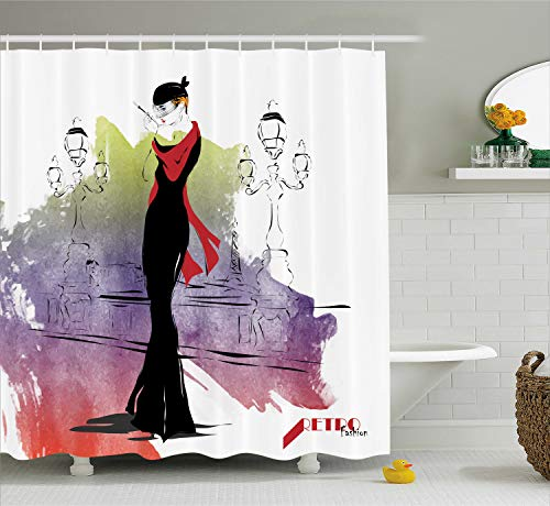 Ambesonne Vintage Shower Curtain, Girl with Red Shawl on The Street with Lanterns Sixties Trends Retro Style Glamour, Cloth Fabric Bathroom Decor Set with Hooks, 70 Inches, Multicolor ()