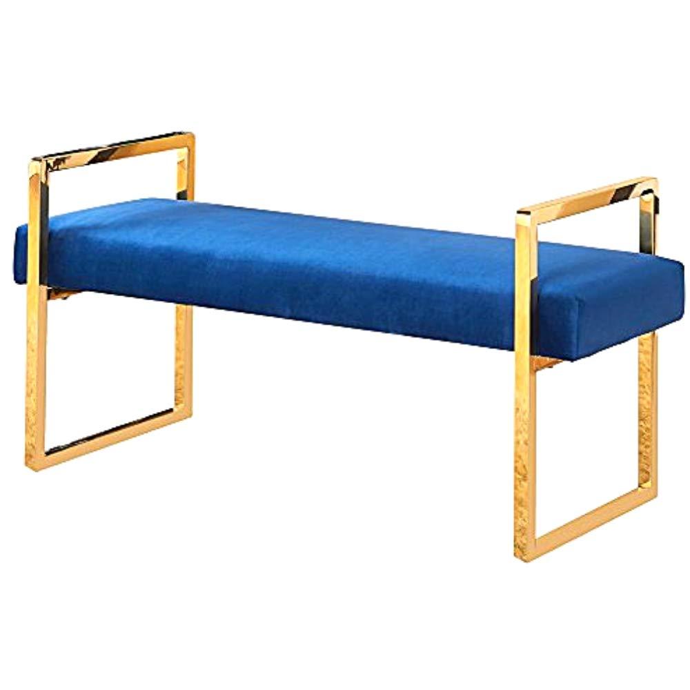 Fabulous Amazon Com Gold Entry Bench Navy Velvet Padded Cushion Ibusinesslaw Wood Chair Design Ideas Ibusinesslaworg