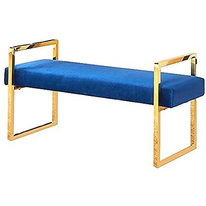Astounding Amazon Com Gold Entry Bench Navy Velvet Padded Cushion Ibusinesslaw Wood Chair Design Ideas Ibusinesslaworg