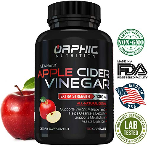 Balance Weight Loss - Organic Extra Strength 1300mg Apple Cider Vinegar Capsules | Detox Pills | Prevent Bloating, Non-Stimulating | Detox, Cleanse, Manage Weight & Improve Digestion | Men & Women | Pack of 60
