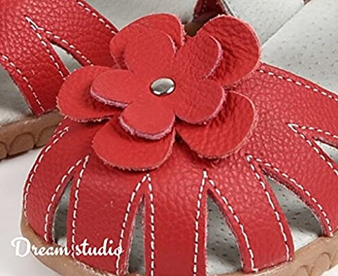 823f8e2e8848e Amazon.com: 【Dream Studio】 Girls Genuine Leather Solid Flower ...