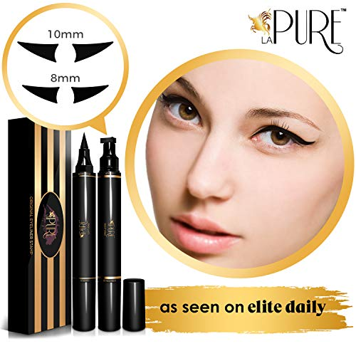 Original Eyeliner Stamp by LA PURE (2 Pens, 8mm Casual Flick) - 2 double-sided pens, winged liquid eyeliner stamp & pencil, Vamp style wing, smudgeproof, waterproof, long-lasting, No Dripping