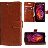 Lychee bags Vintage Artificial Leather Wallet Flip Book Cover with Magnetic Button for Nokia-1 (Brown)