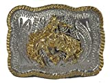 """Western Belts Boys Square Horse Rider Buckle 2.5"""" W"""