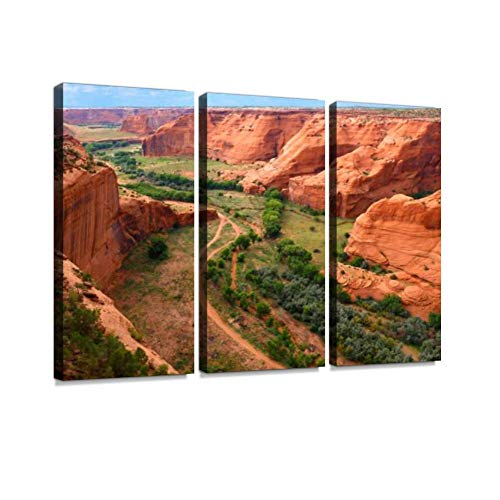 Canyon de Chelly National Monument Print On Canvas Wall Artwork Modern Photography Home Decor Unique Pattern Stretched and Framed 3 Piece Canyon De Chelly National Monument