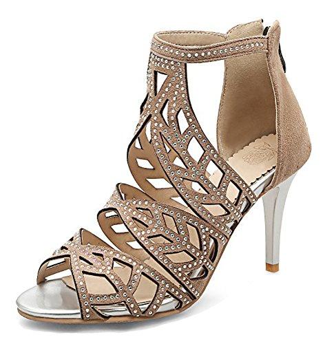 Gladiator Sandals Rhinestone Womens Up Club Apricot Wrap Zip Stilettos Ankle Heel Unique With Aisun High Hpx5wEqE