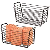 mDesign Farmhouse Metal Storage Organizer Basket Bin with Handles - Holds Hand Soaps, Body Wash, Shampoos, Lotion, Conditioners, Hand Towels, Hair Accessories, Body Spray - Medium, 2 Pack - Bronze