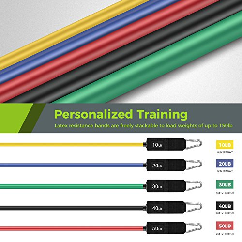 Resistance Band Set, Leekey 11pc Exercise Bands Workout bands with Carry Bag, Door Anchor, Handles, Ankle Straps for Body Stretching Physical Therapy and Resistance Training by  (Image #1)