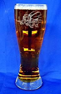 Custom Etched Navy Seabees Emblem on 23 Oz Pilsner Glass Set of 4 from PG SEEDS