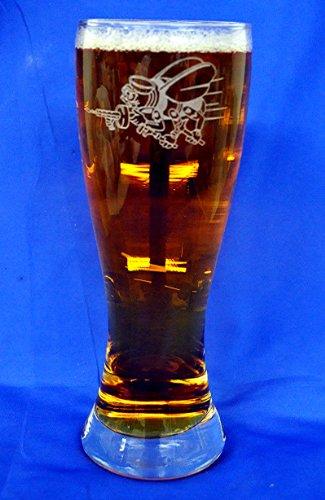 Custom Etched Navy Seabees Emblem on 23 oz Pilsner Glass Set of - Pilsner Etched