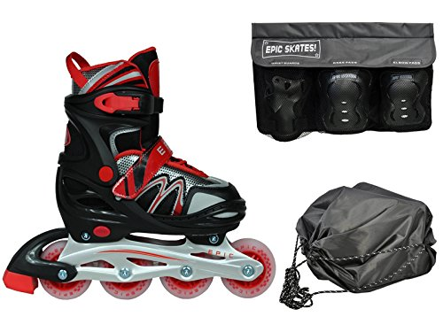 (New! Epic Drift Black & Red Adjustable Indoor/Outdoor LED Light Up Inline Skates 4Pc. Bundle w/ Safety Pads (Yth 1-4 / Small Pads))