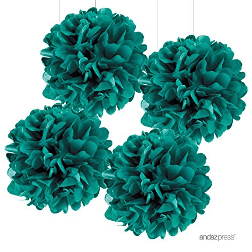 (Andaz Press Large Tissue Paper Pom Poms Hanging Decorations, Aqua Turquoise, 14-inch, 4-Pack, Colored Birthday Party Supplies)