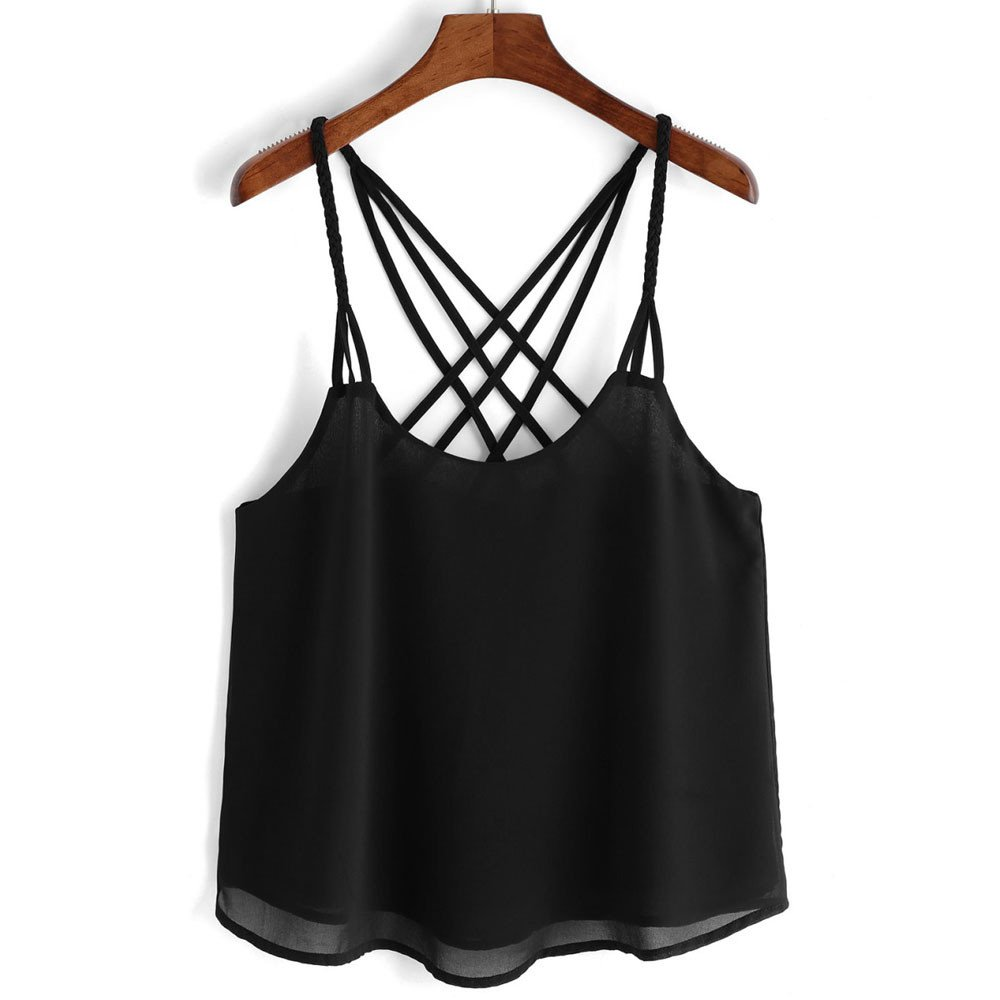 10d8481a14f chengzhijianzhu Women Shirts Girls Tank Crop Tops Camisole Women s Casual Chiffon  Sleeveless Crop Top Vest Tank Shirt Cami at Amazon Women s Clothing store
