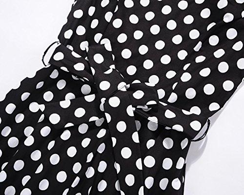 ... Rundhalsausschnitt HUINI Polka Dots Vintage Kleid 50er Audrey Hepburn Retro  Rockabilly Swing Kleid mit Punkten Kurzarm Rundhalsausschnitt ... 79d1e5d6d1