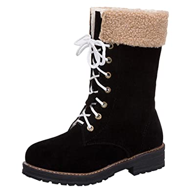 ea114a9aeed DOLDOA Women Solid Color Square Heel Lace-Up Suede Boots Ladies High ...