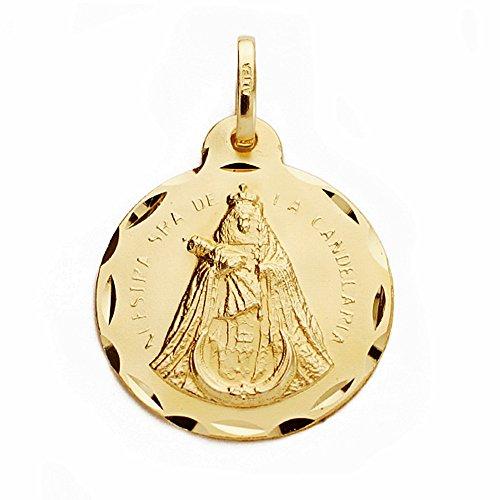 Médaille pendentif 18k Notre-Dame de Candelaria 20mm. [AA2533GR] - personnalisable - ENREGISTREMENT inclus dans le prix