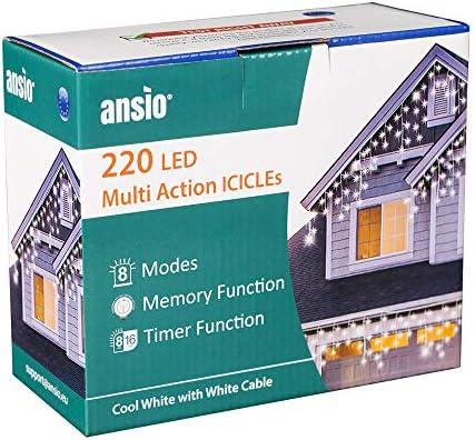 ANSIO 220 LED Bianco Freddo Tenda luminosa, Luci natalizie per interni e esterni, Bianco caldo luminose con 8 modalità luce/timer, Memoria, trasformatore incluso, 7,5 m lunghezza- Cavo Bianco