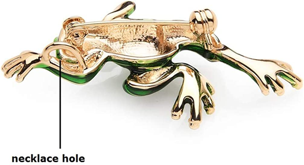 Classic Green Frog Enamel Brooches for Women and Men Metal Animal Girls Scarf Hat Bags Accessories