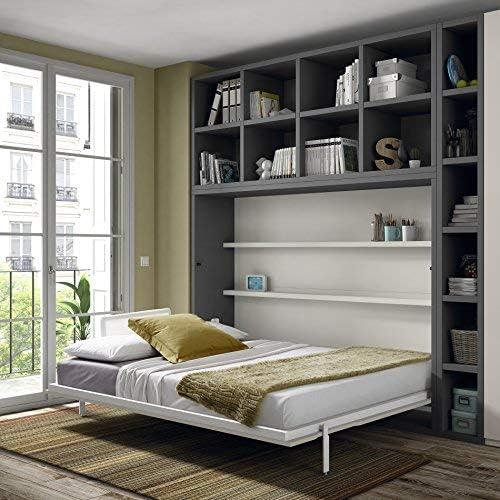 Muebles Ros Cama Plegable y estantes – 237,8 X 211,9 cm – Roble/Gris Pizarra