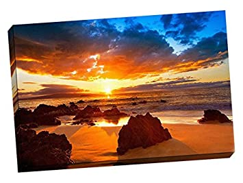 Hawaiian Sunset Beach Wall Decoration Art Image Printed on Canvas Stretched Framed Ready to Hang From