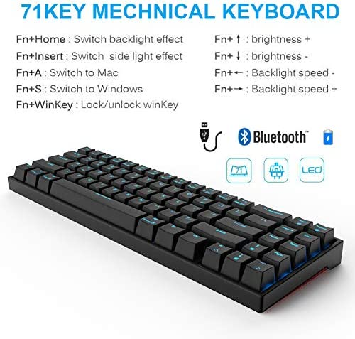 RK71 Mechanical Keyboard 71 Keys 70% LED Backlit Compact Gaming Keyboard,Tenkeyless Wired/Wireless Bluetooth Portable Gaming/Office with Stand-Alone Arrow Keys for Mac Windows (Brown Switch-Black) 51vnyL0MMOL
