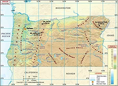 Amazoncom Oregon Physical Map 36 W x 265 H Office Products