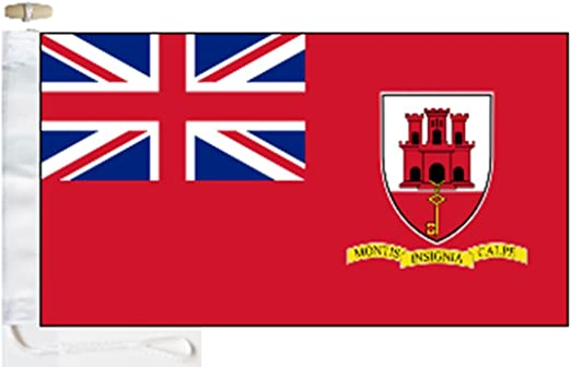 1000 Flags Bandera de Barco Civil Rojo de Gibraltar – 1/2 Yard (45 cm x 22 cm) – Cuerda y Tope: Amazon.es: Jardín