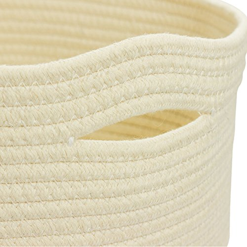 Rope Basket Organizer Combo Set - Eco-Friendly, Natural Color and Tightly Woven - Medium Size 15 x 13 inch Cotton Rope Basket, with Bonus 8 x 6 inch Nylon Rope Basket - Mold Resistant and Decorative by Helpful Picks (Image #7)
