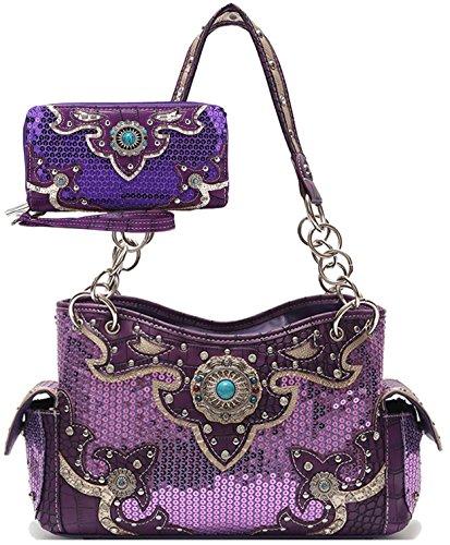 1.75' Flower (Sequins Purse Country Totes Western Style Conchos Women Handbags Satchel Shoulder Bags Wallet Set Purple)