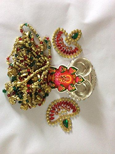 Diwali Gift Hamper, Toran/door valance, beautiful rangoli, Pooja Thali and Goddess Laxmi Sticker