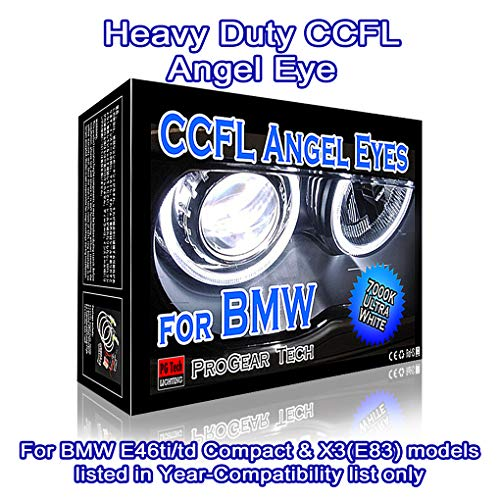 Heavy Duty 106 mm +131 mm CCFL Angel Eyes Halo Rings DRL Marker E46ti E46td (01-05) Compact E83 X3 (03-10) (7000K True - 316i Compact