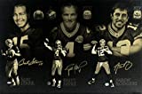 Bart Starr, Brett Favre & Aaron Rodgers Signed Green Bay Packers Gallery Wrapped 24x36 Stretched Canvas