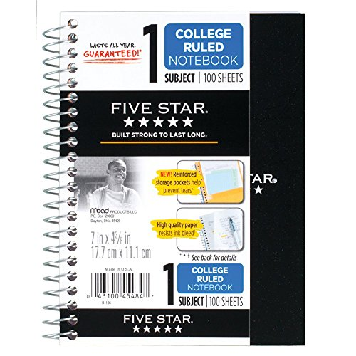 "043100454847 - Five Star Personal Spiral Notebook, 7"" x 4 3/8"", 100 Sheets, College Rule, Assorted colors (45484) carousel main 8"