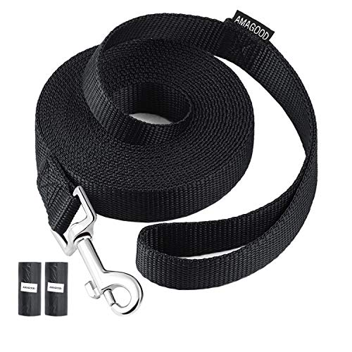 AmaGood Dog/Puppy Obedience Recall Training Agility Lead-15 ft 20 ft 30 ft 50 ft Long Leash-for Dog Training,Tie Out,Play,Safety,Camping (15 feet, Black)