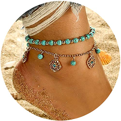 Phima Women Anklet Bracelets Turquoise Gold Chain Beads Multi Layer Vintage Bohemian Ankle Bracelets for Girls Charm Bracelets