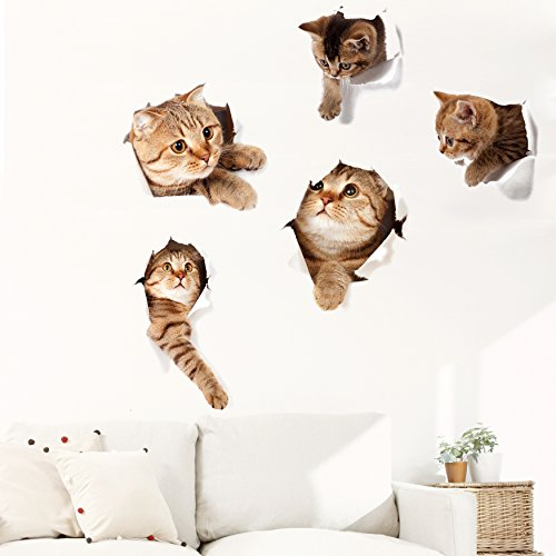 (Originalidad 3D Removable Cats Large Wall Stickers Decals | Cute Animal Wall Sticker mural for Kids | Cute kitty Decor Posters for Nursery Room, Toilet, Kitchen, Offices | A set of 5)
