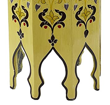Moroccan Handmade Wood Table Side Tall Delicate Hand Painted Exquisite Yellow