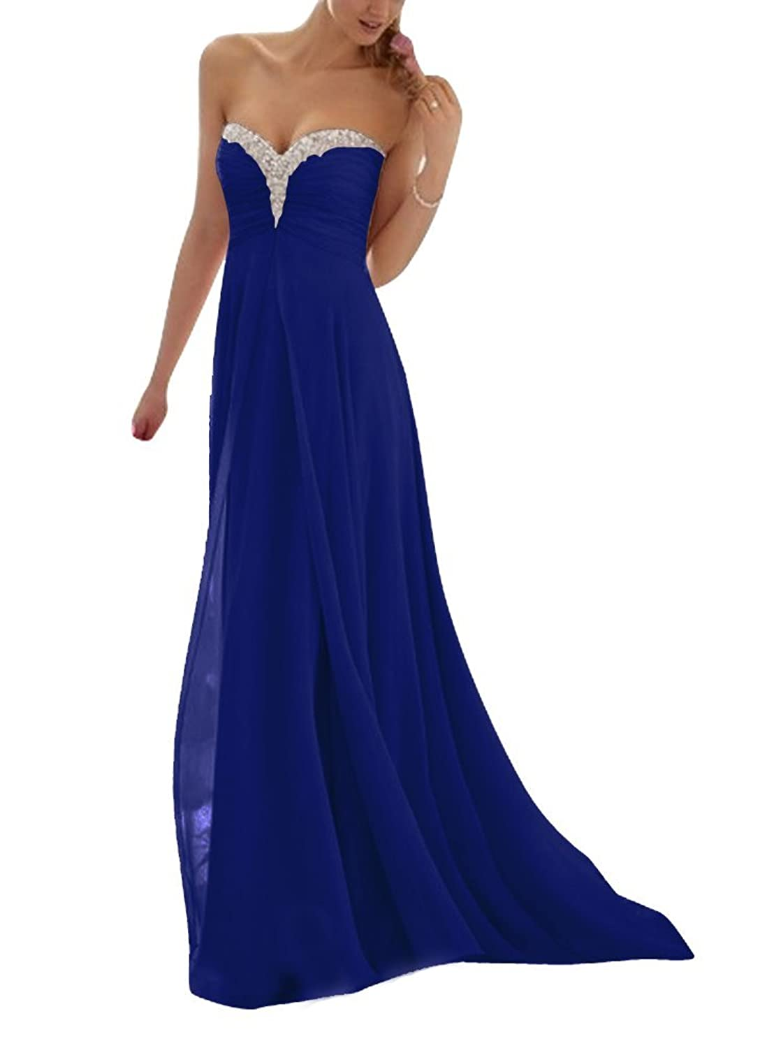 Huafeiwude Womens Floor Length Strapless Chiffon Beading Prom ...
