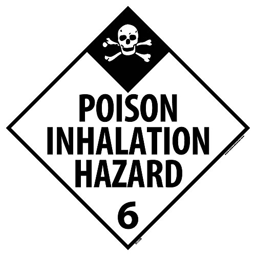 DL125R National Marker Dot Placard Poison Inhalation Hazard Sign 6, 10 3/4 Inches x 10 3/4 Inches, Rigid Plastic