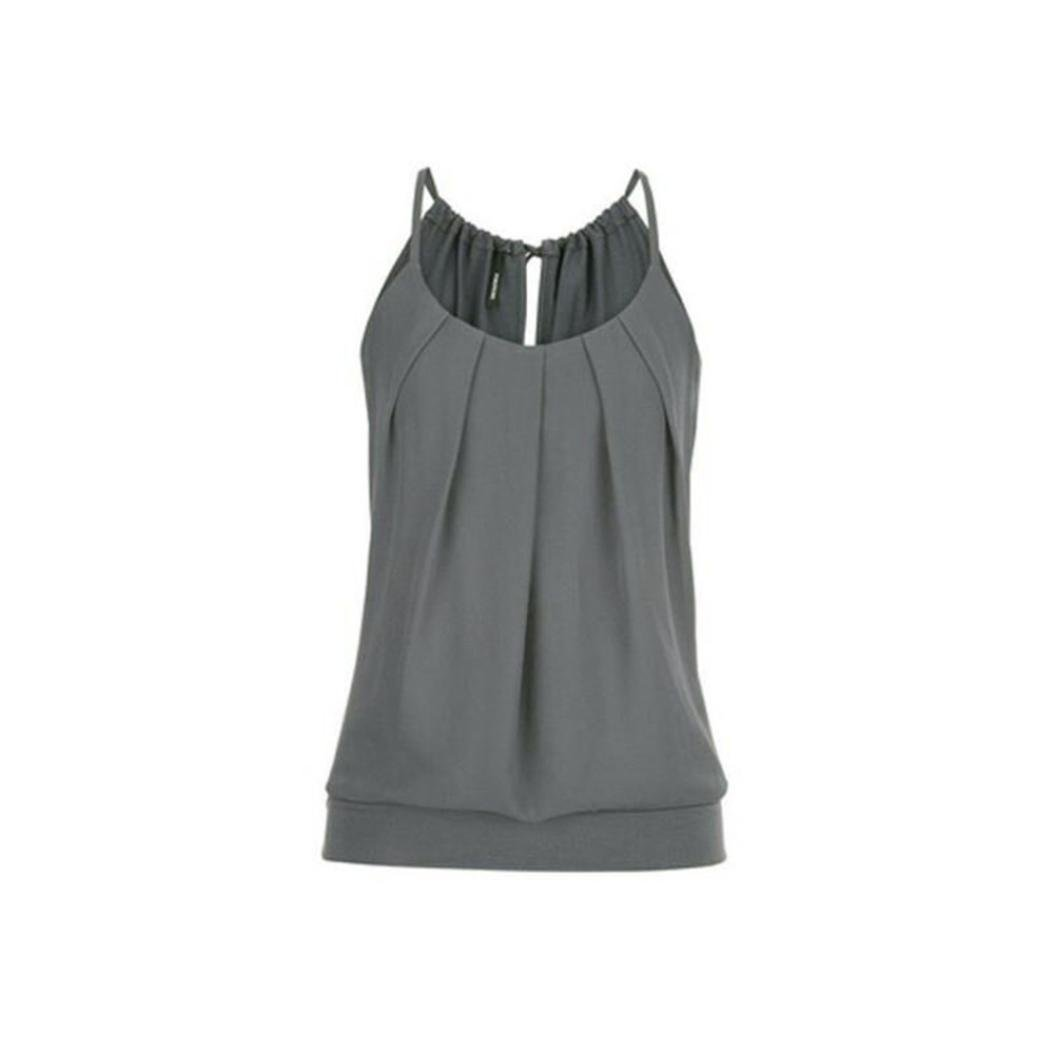 Coromose Women's Pleated Cute Criss Tank Tops Loose Hollow Out Camisole Shirt Coromose 1569