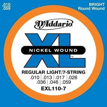 Real Daddario para guitarra eléctrica 110 exl 7 010 10 cuerdas 59/59