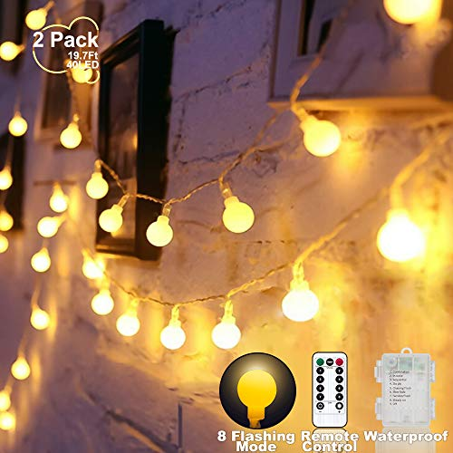 YoTelim Globe String Lights Battery Operated Warm White ,Water Proof 2 Pack 19.7FT 40 LED Globe Fairy String Light 8 Modes with Remote Control, for Home, Party, Christmas, Wedding, Garden Decoration (Battery Operated Globe Lights String)