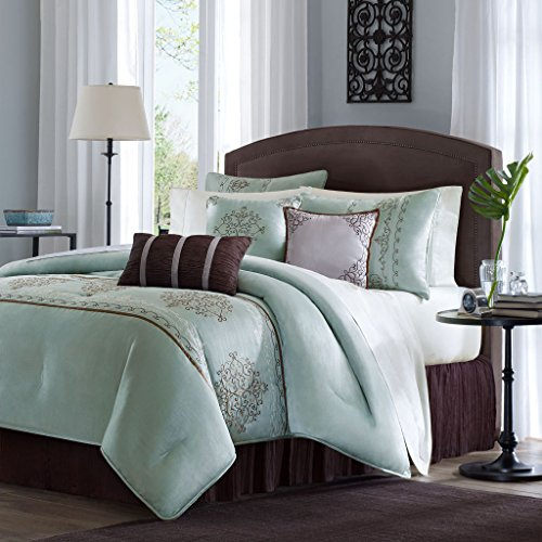 7 Piece Faux Silk (Madison Park Brussel Cal King Size Bed Comforter Set Bed In A Bag - Seafoam Aqua, Embroidered Patterns – 7 Pieces Bedding Sets – Faux Silk Bedroom Comforters)