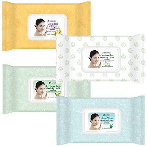 (Epielle Assorted Makeup Remover Cleansing Tissues, 60 Counts (Pack of 4) )