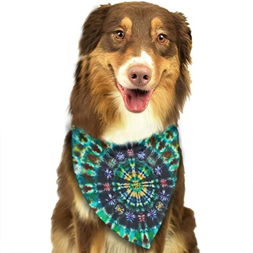 ROCKSKY Dog Bandana, Soft Triangle Birthday Bandana Scarves Bandana Kerchief for Small Medium Large Dogs - Pet Neck Tie Scarf Hankie for Party, Wedding, Indian Spiral Tie Dye Mandala Green